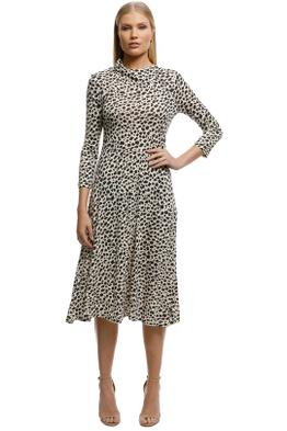MNG - Animal Print Dress - Brown - Leopard - Front