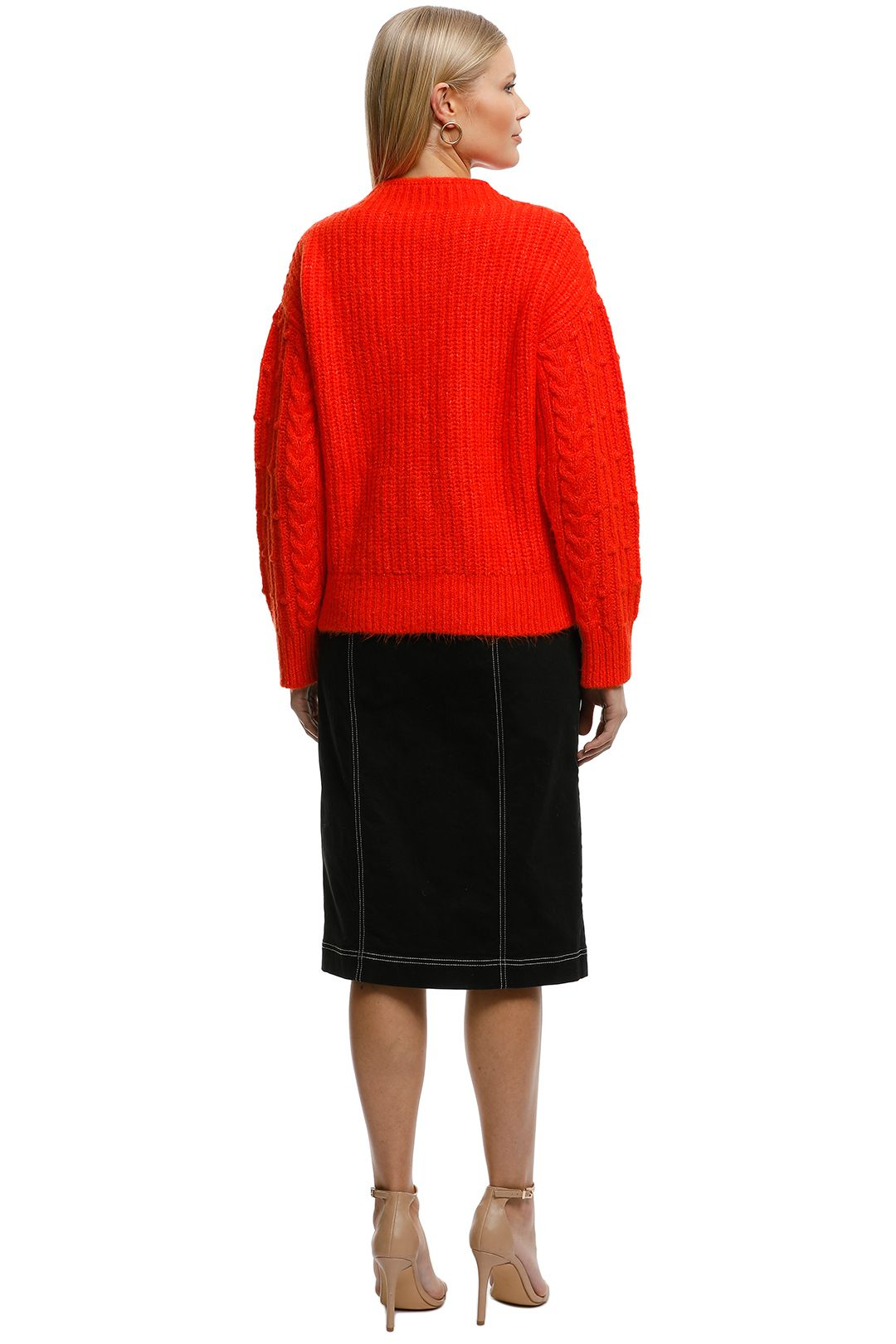 MNG - Contrasting Knit Sweater - Orange - Back