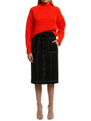 MNG - Contrasting Knit Sweater - Orange - Front