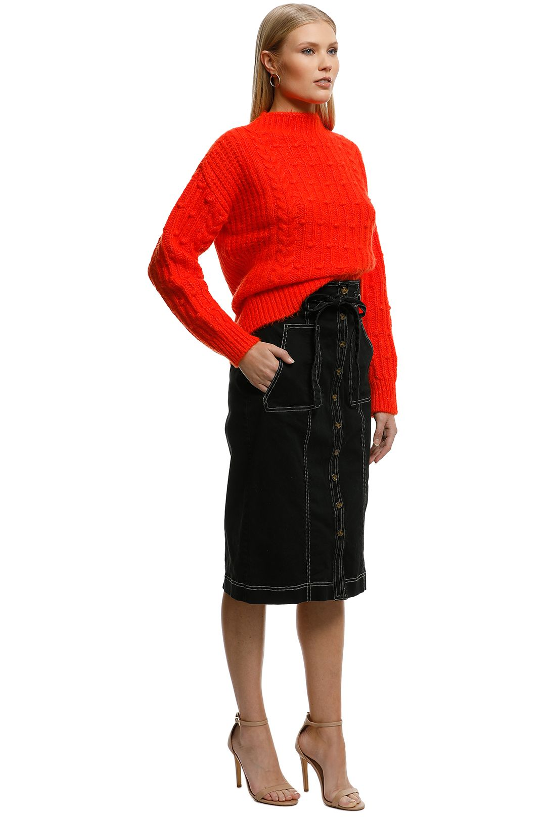 MNG - Contrasting Knit Sweater - Orange - Side