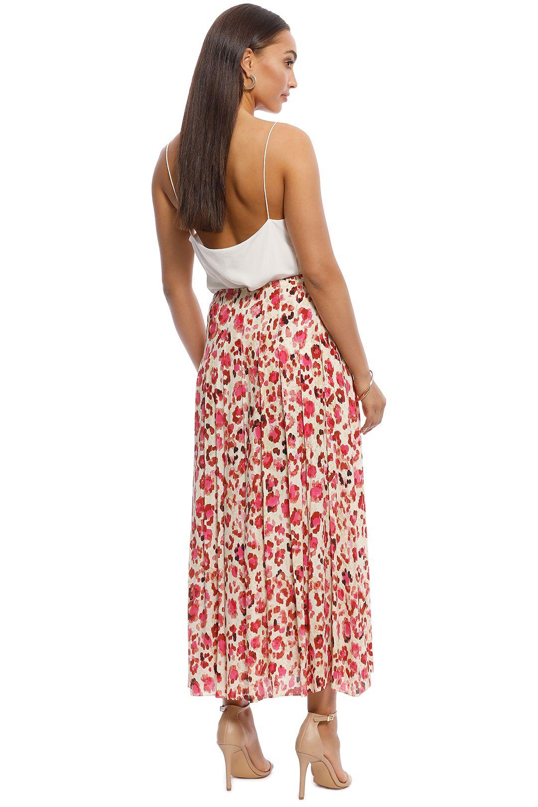 MNG - Elea Printed Midi Skirt - Pink - Back