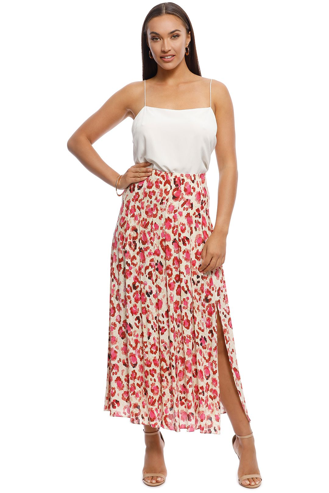 MNG - Elea Printed Midi Skirt - Pink - Front