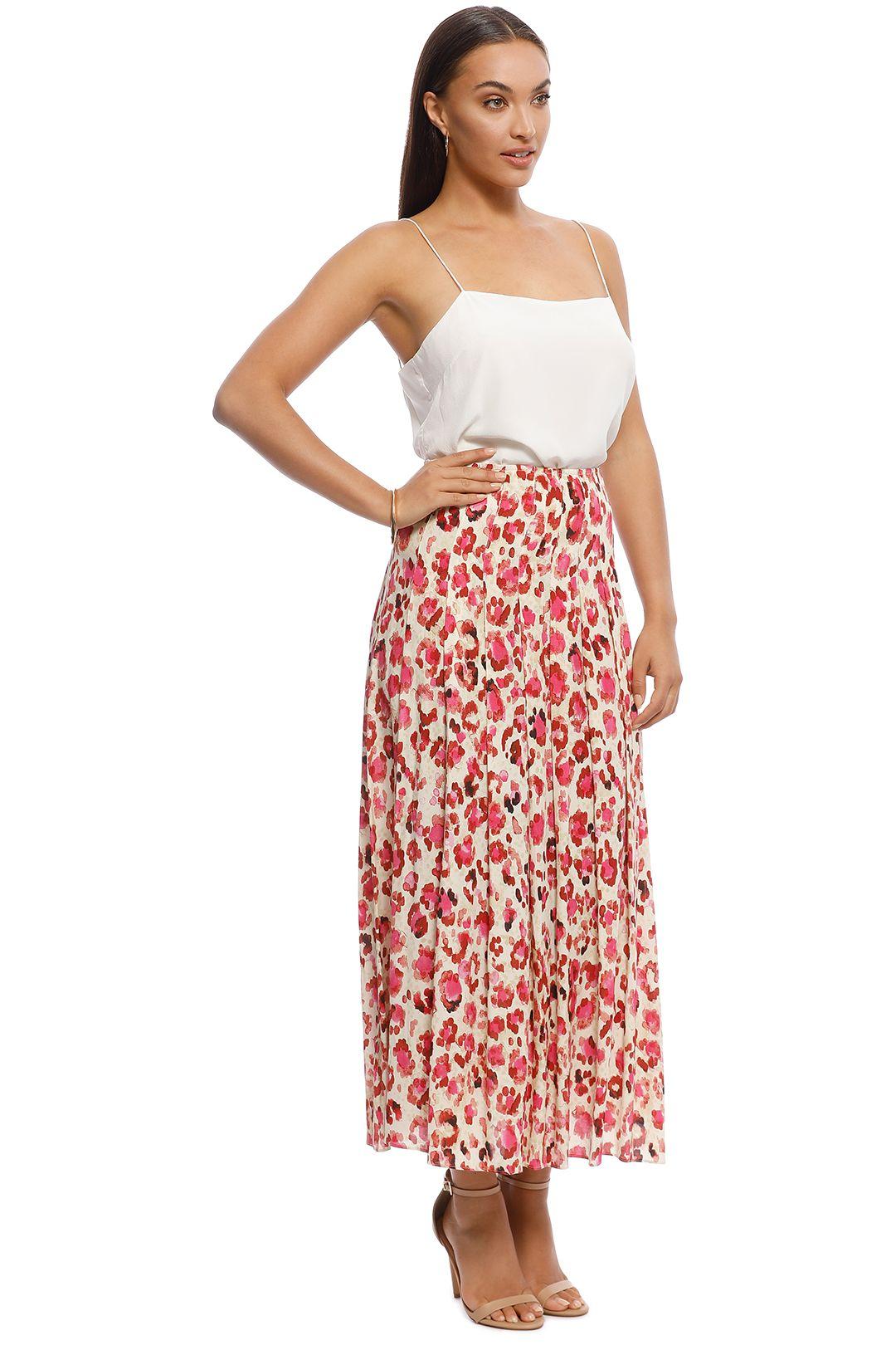 MNG - Elea Printed Midi Skirt - Pink - Side