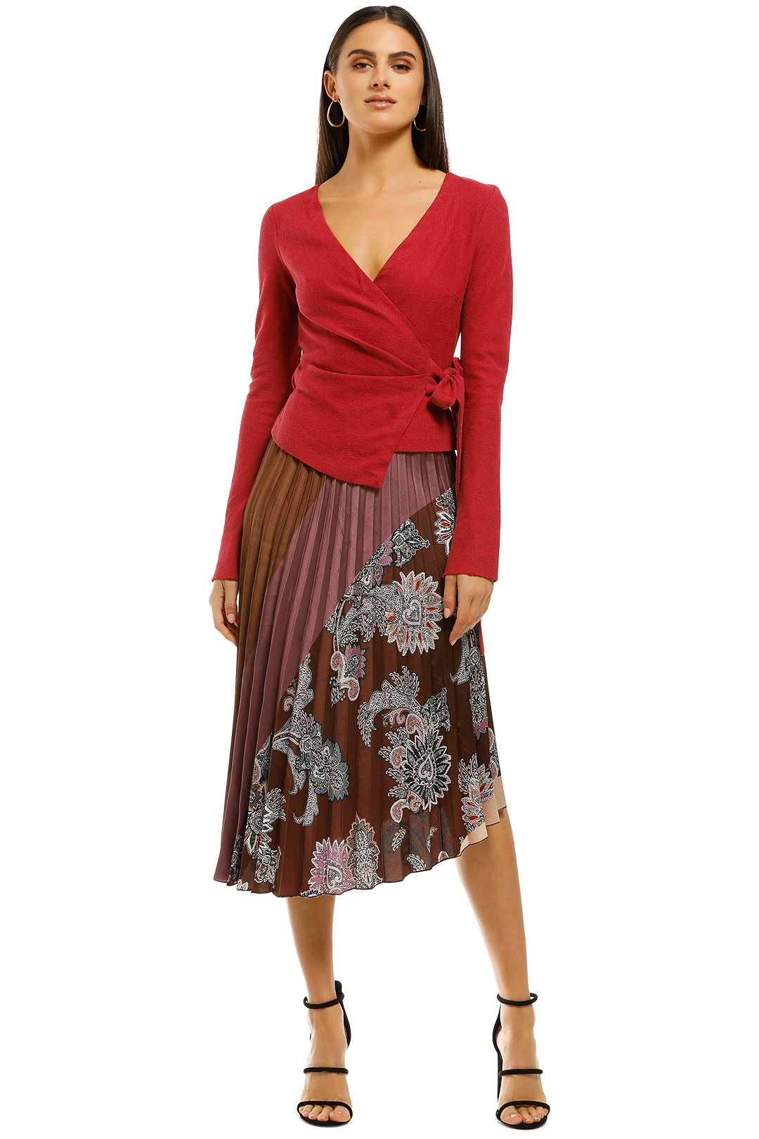 MNG - Printed Pleated Skirt - Brown - Front