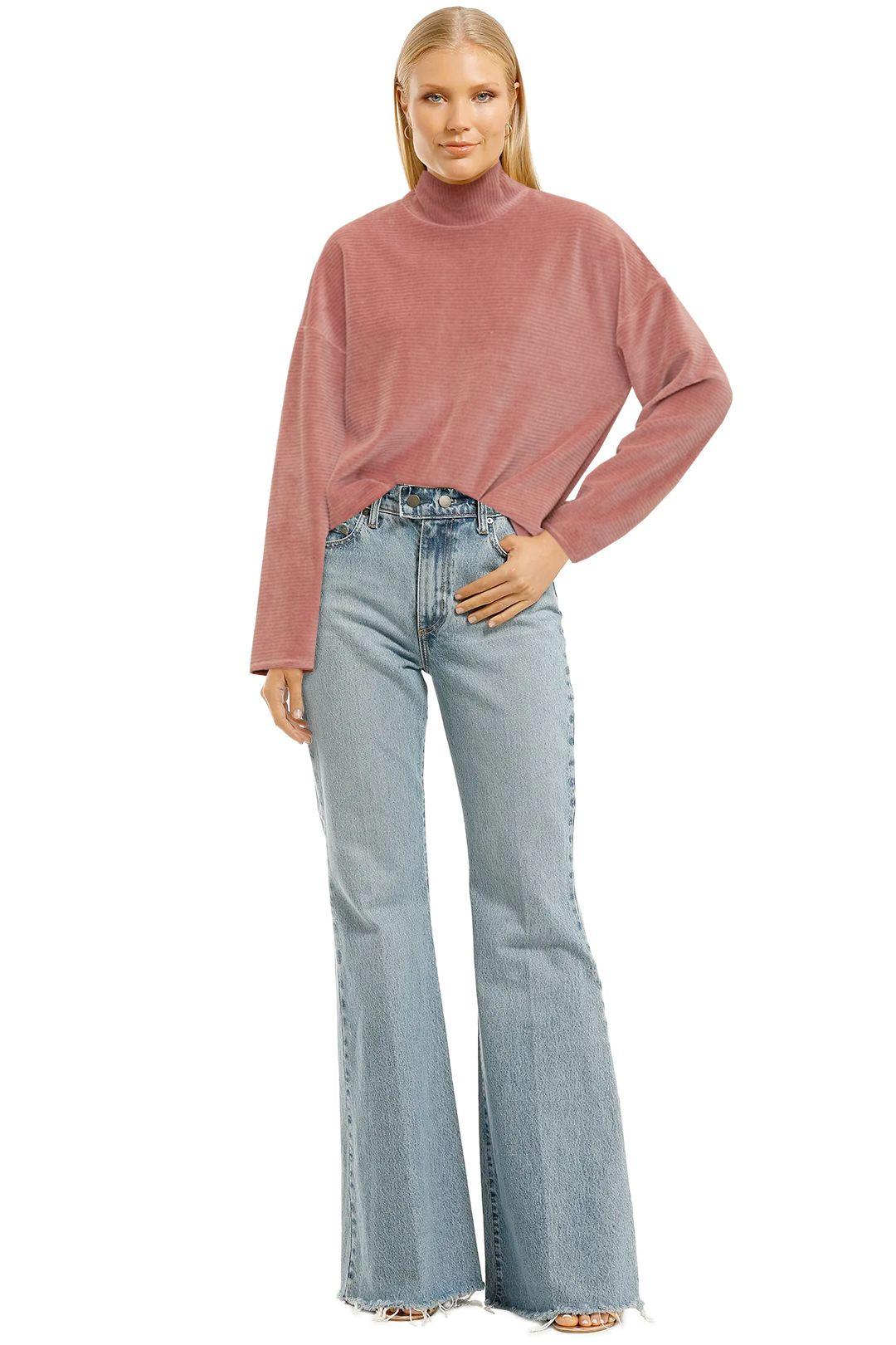 MNG-Ribbed-Velvet-Sweatshirt-Pink-Front