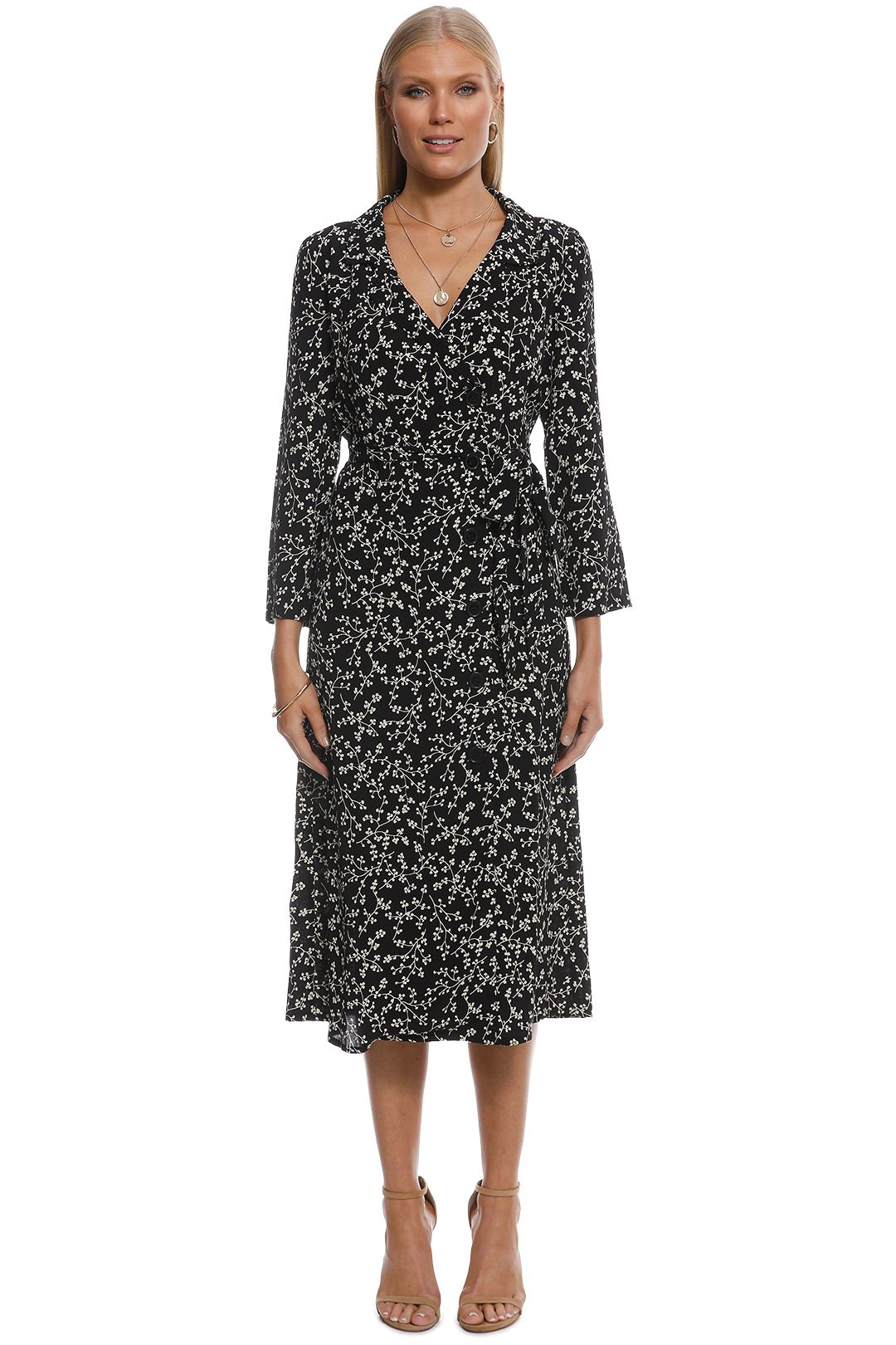 MNG - Rina Floral Print Dress - Black and White - Front