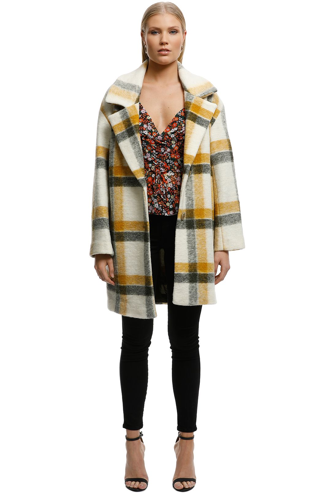 MNG - Unstructured Virgin Wool Coat - Check Print - Front
