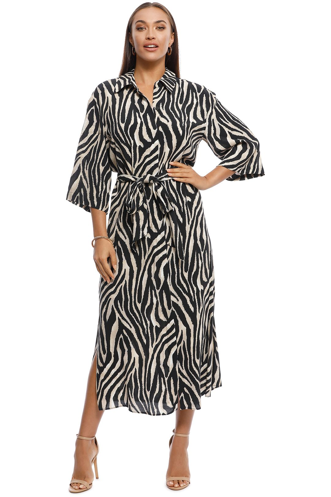 MNG - Zebra Animal Print Shirt Dress - Front