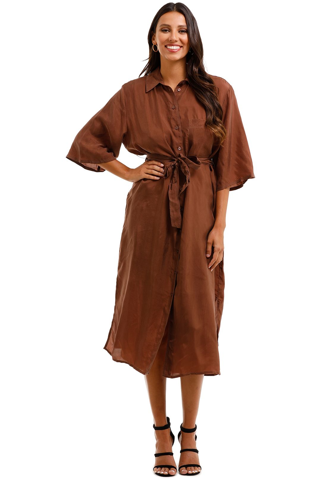 MNG Belted Cupro Midi Shirt Dress with Belt