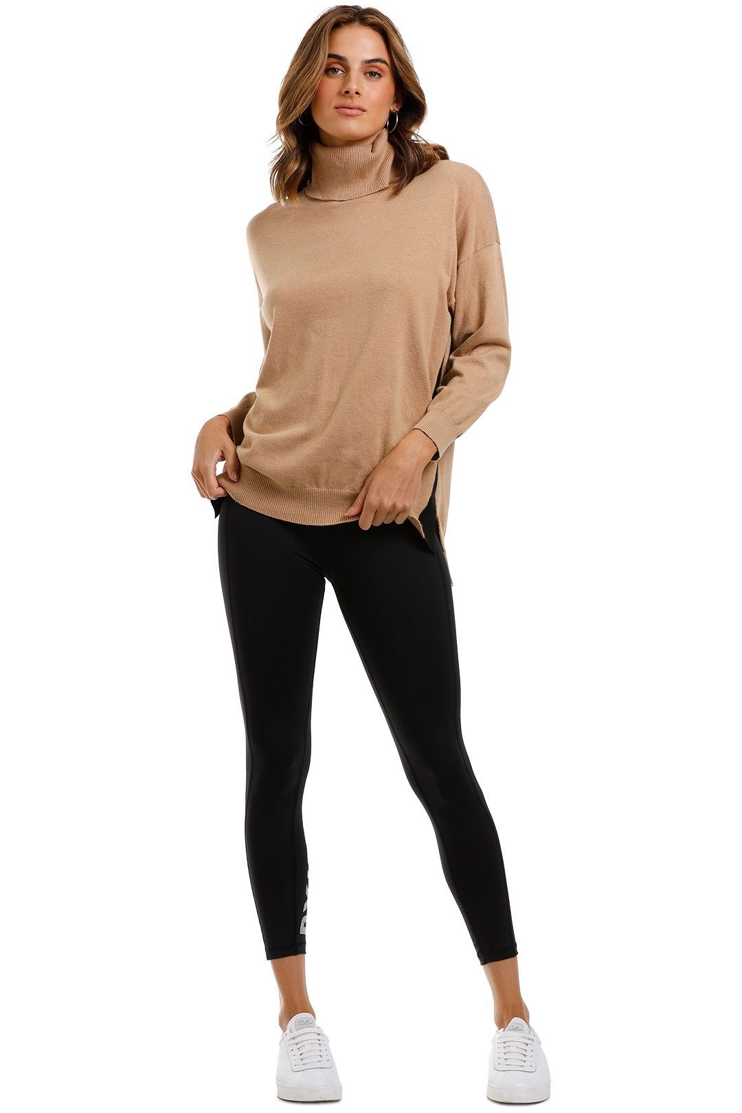 MNG Contrasting Bands Sweater Tan
