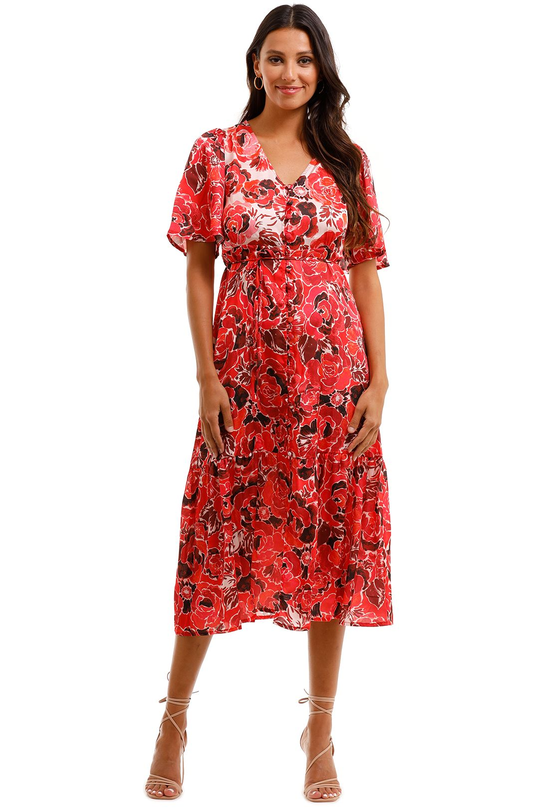 MNG Flowy Printed Dress Flutter Sleeve