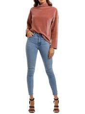 MNG Ribbed Velvet Sweatshirt Pink