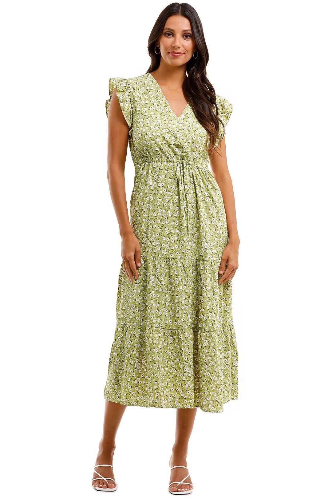 MNG Ruffled Sleeve Dress Green Maxi