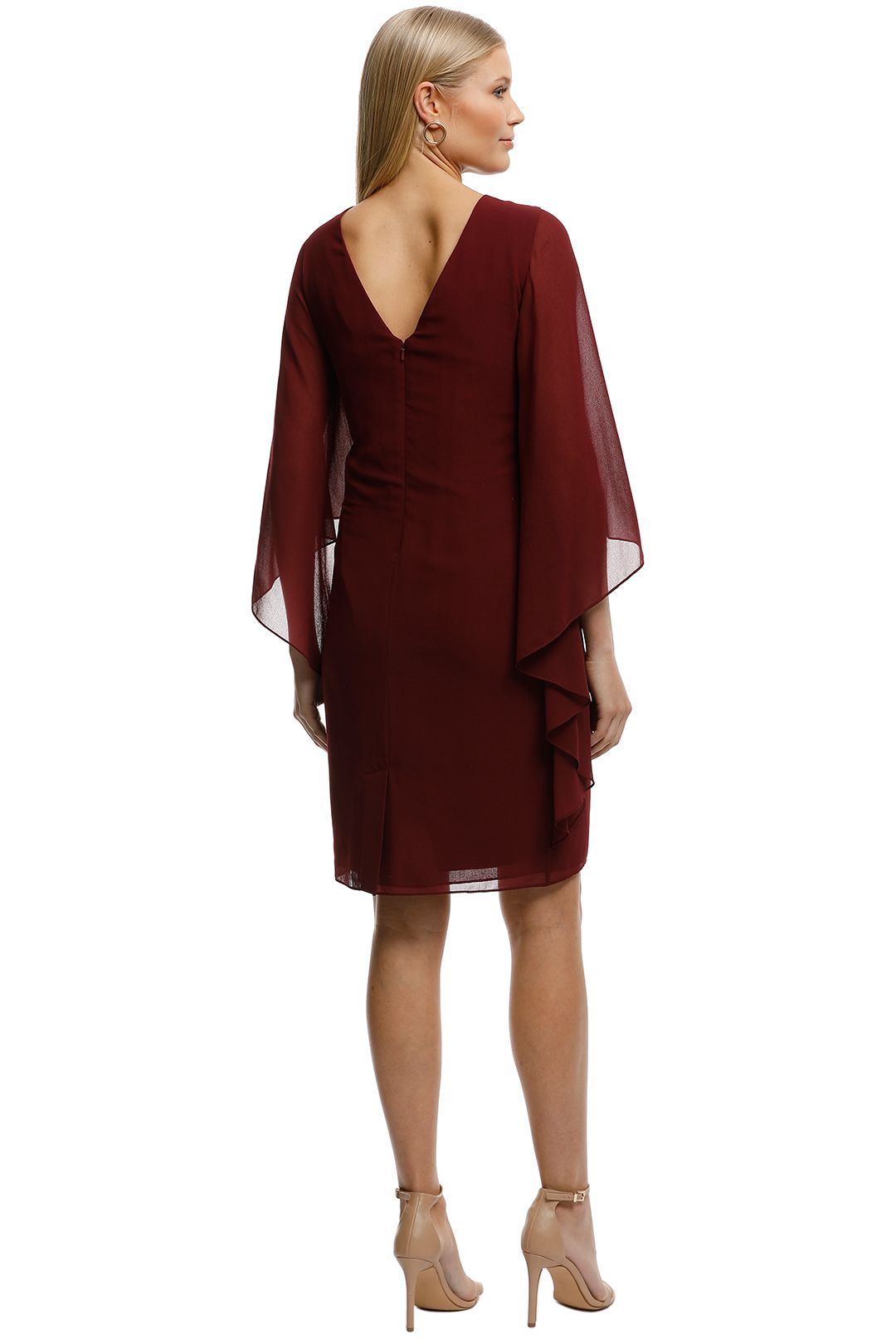 Montique-Ciana Cocktail Dress Wine-Wine-Back