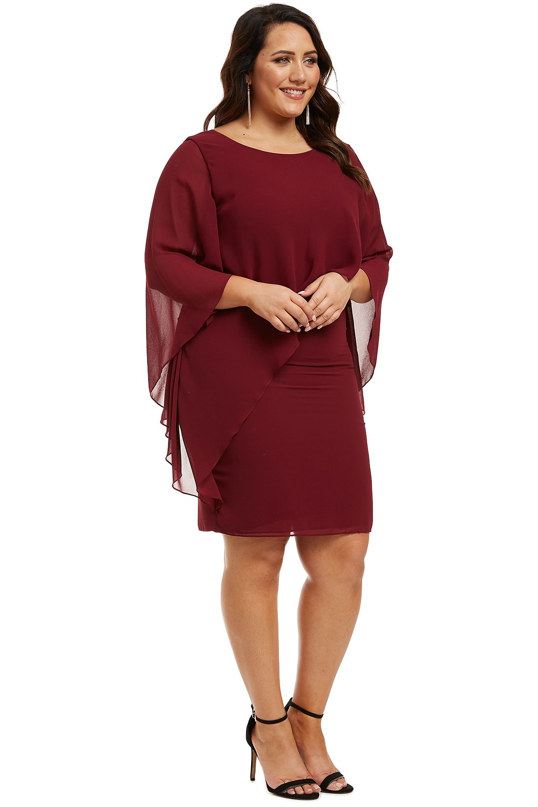 Montique-Ciana Cocktail Dress Wine-Wine-Side