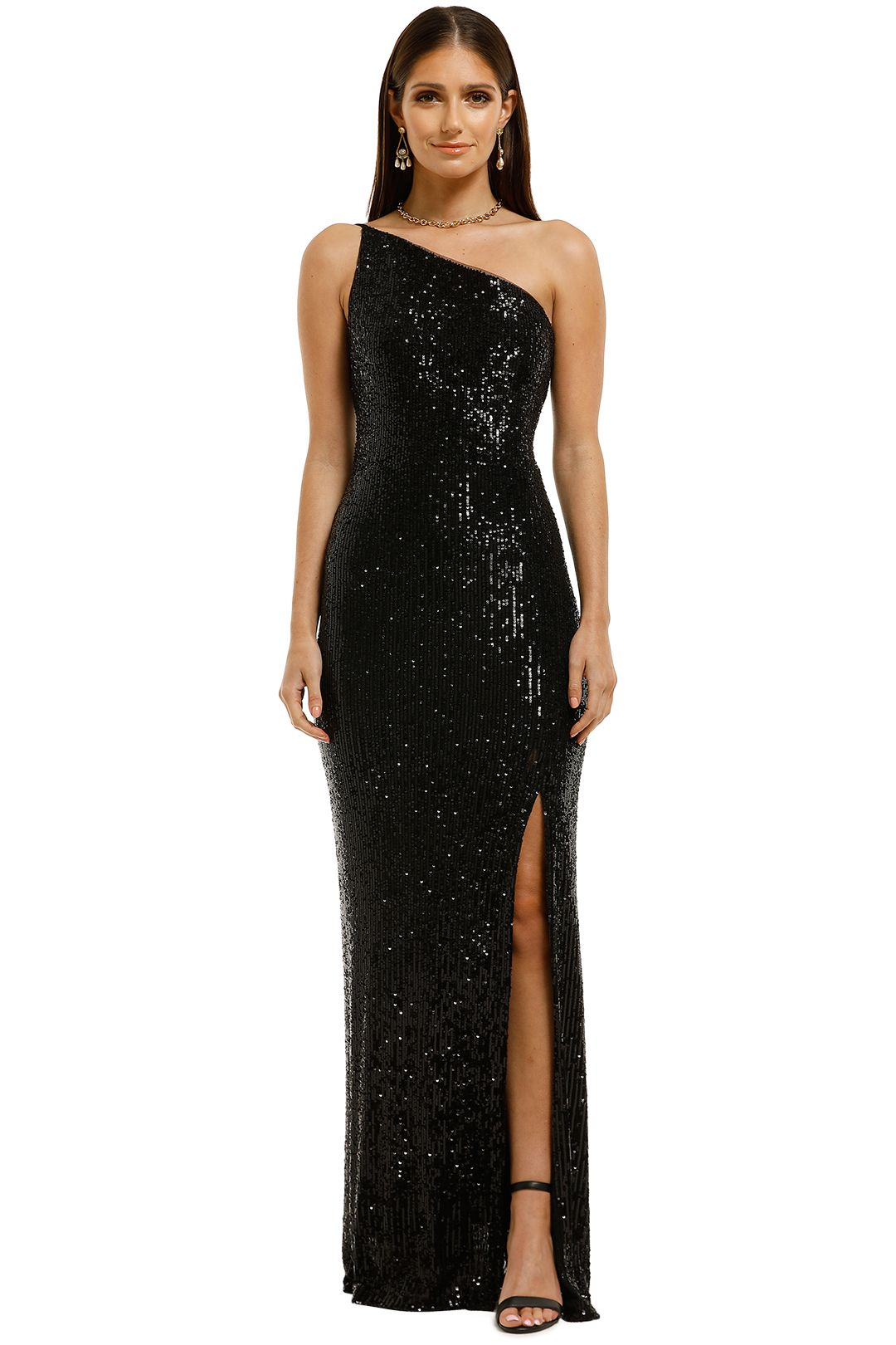 Montique-Elle-Sequin-Black-Gown-Black-Front