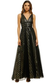 Montique-Mirabella-Lurex-Gown-Black-Gold-Front