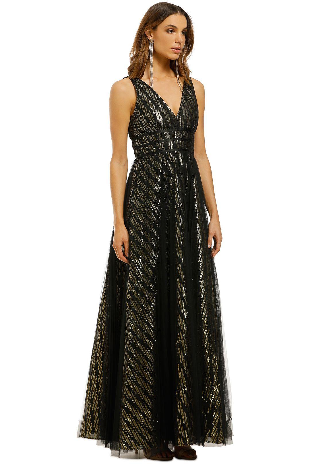 Montique-Mirabella-Lurex-Gown-Black-Gold-Side