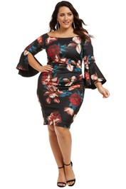 Montique-Petra-Printed-Scuba-Dress-Print-Floral-Front