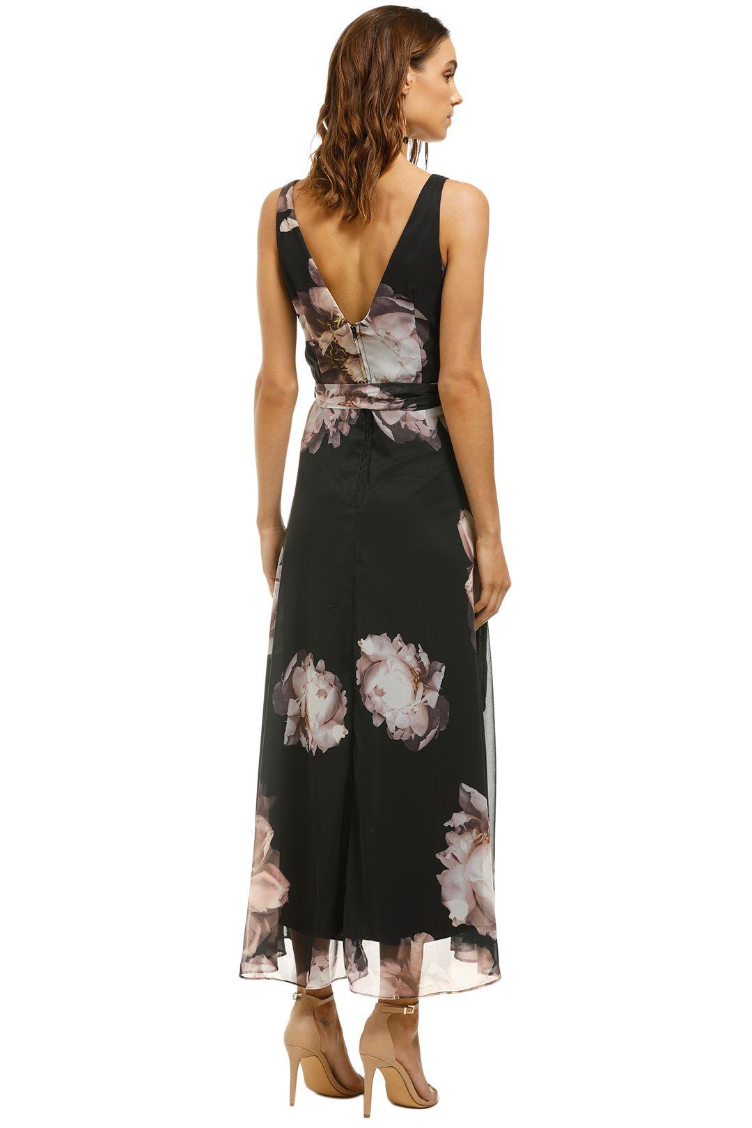 Montique-Rosie-Black-Print-Chiffon-Dress-Black-Floral-Back