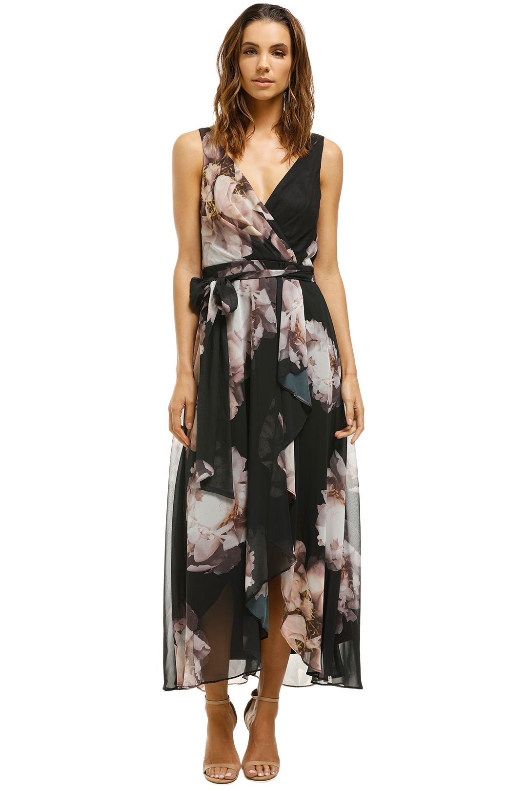 Montique-Rosie-Black-Print-Chiffon-Dress-Black-Floral-Front