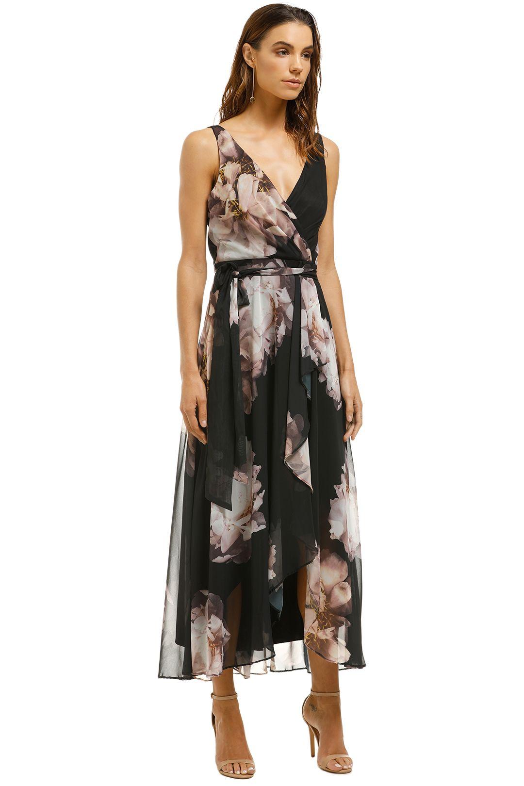 Montique-Rosie-Black-Print-Chiffon-Dress-Black-Floral-Side
