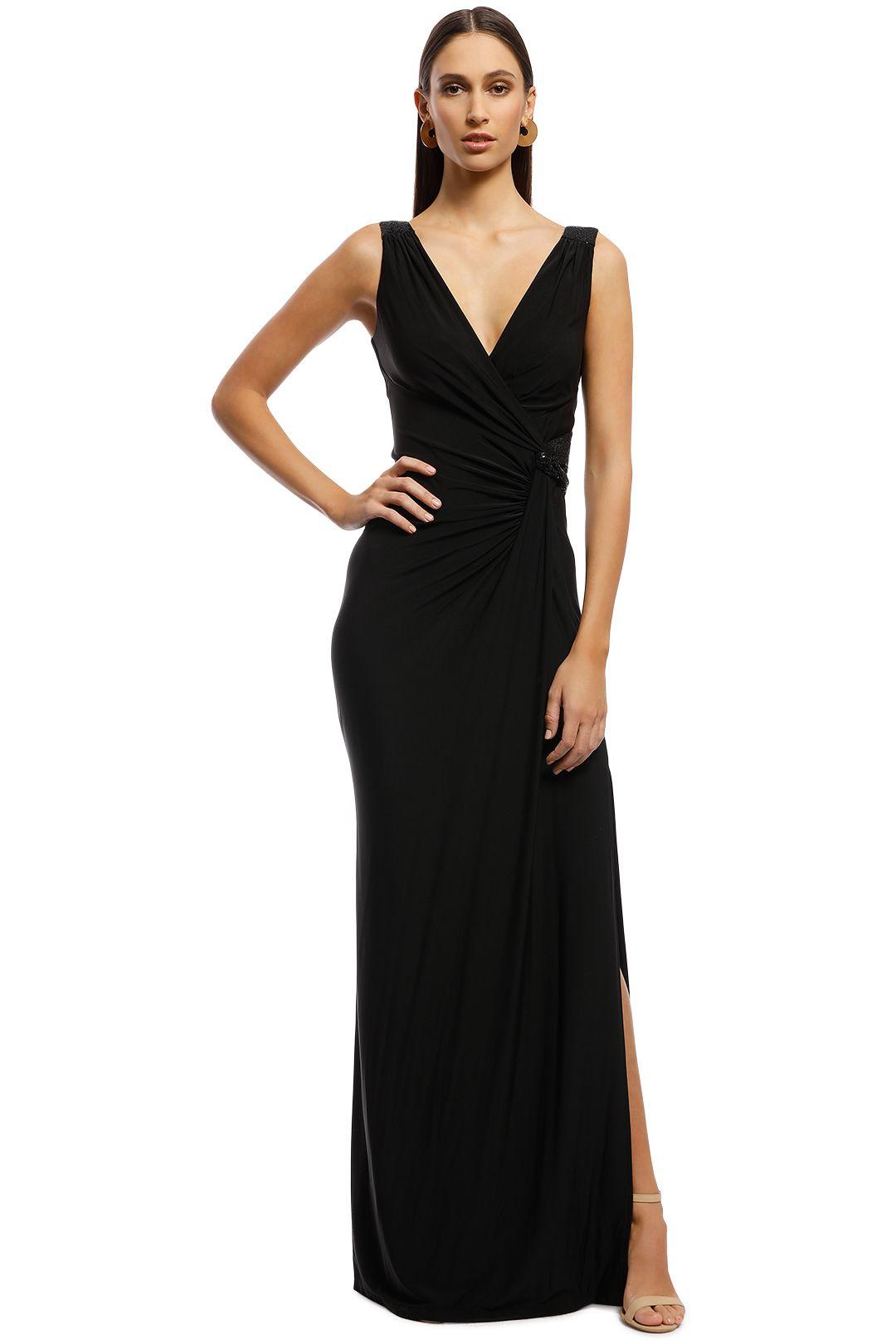 Montique - Amalia Jersey Wrap Gown - Black - Front
