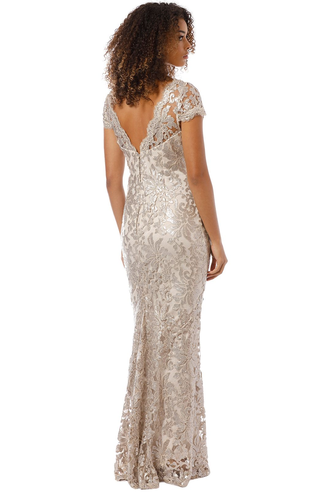 Montique - Aubrey Embroidered Lace Gown - Mink - Back