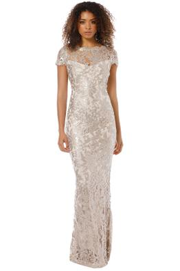 Montique - Aubrey Embroidered Lace Gown - Mink - Front