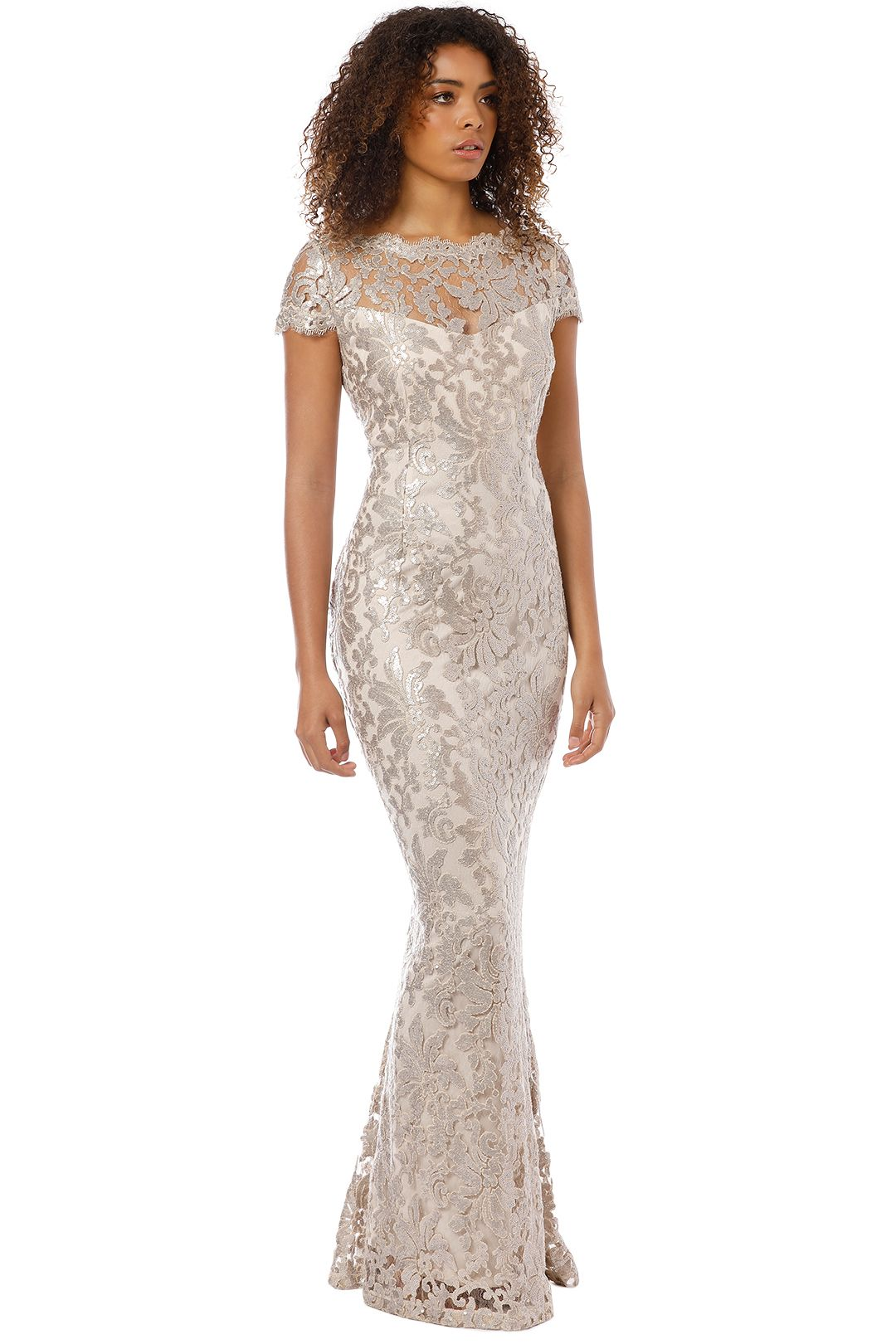Montique - Aubrey Embroidered Lace Gown - Mink - Side