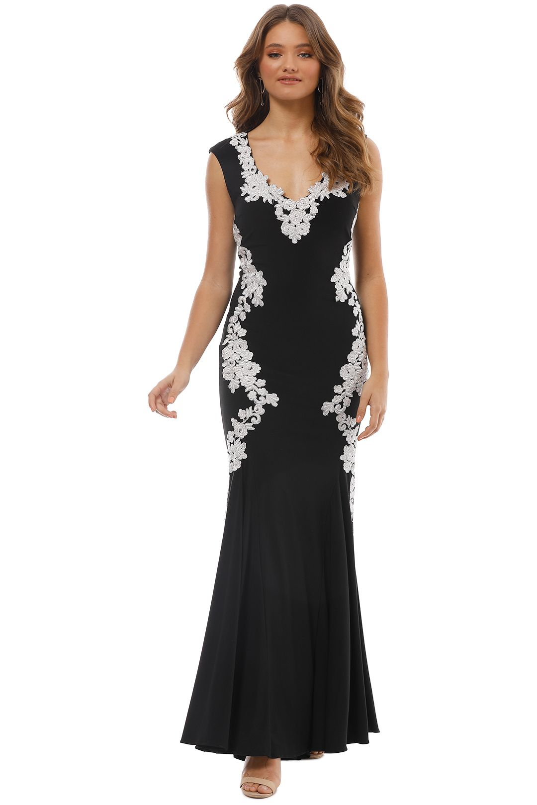 Montique - Ava Embroidered Gown - Black - Front