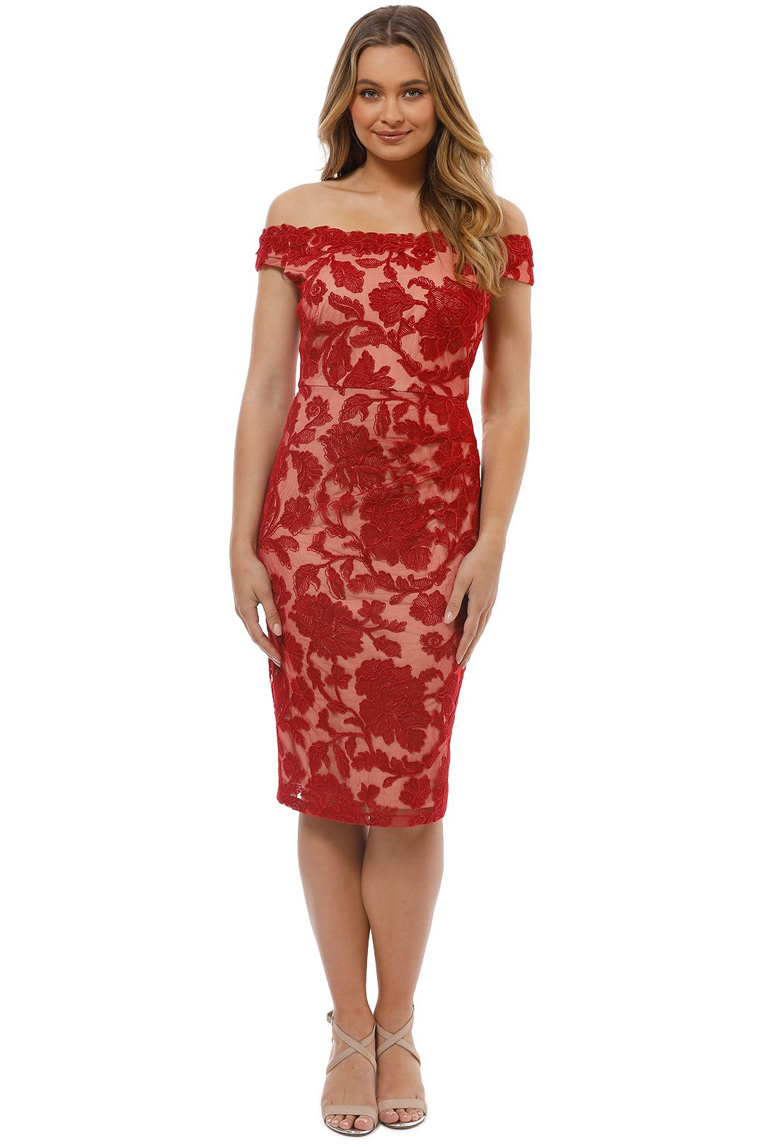Montique - Christiana Lace Dress - Red - Front