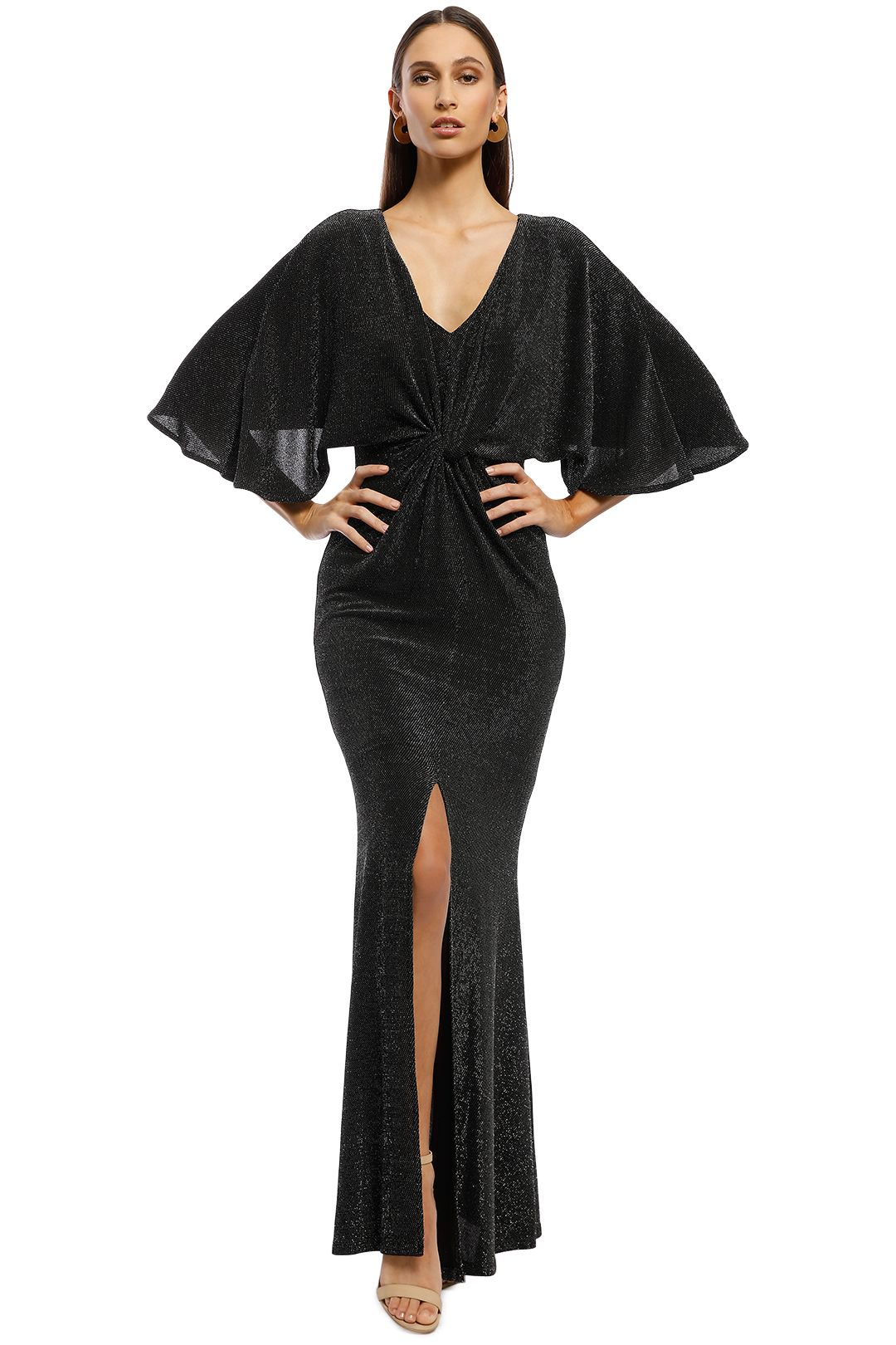 Montique - Diva Metallic Gown - Charcoal - Front