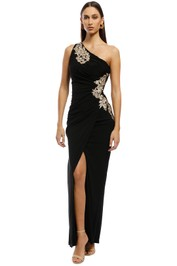 Montique - Donatella Applique Gown - Black - Front