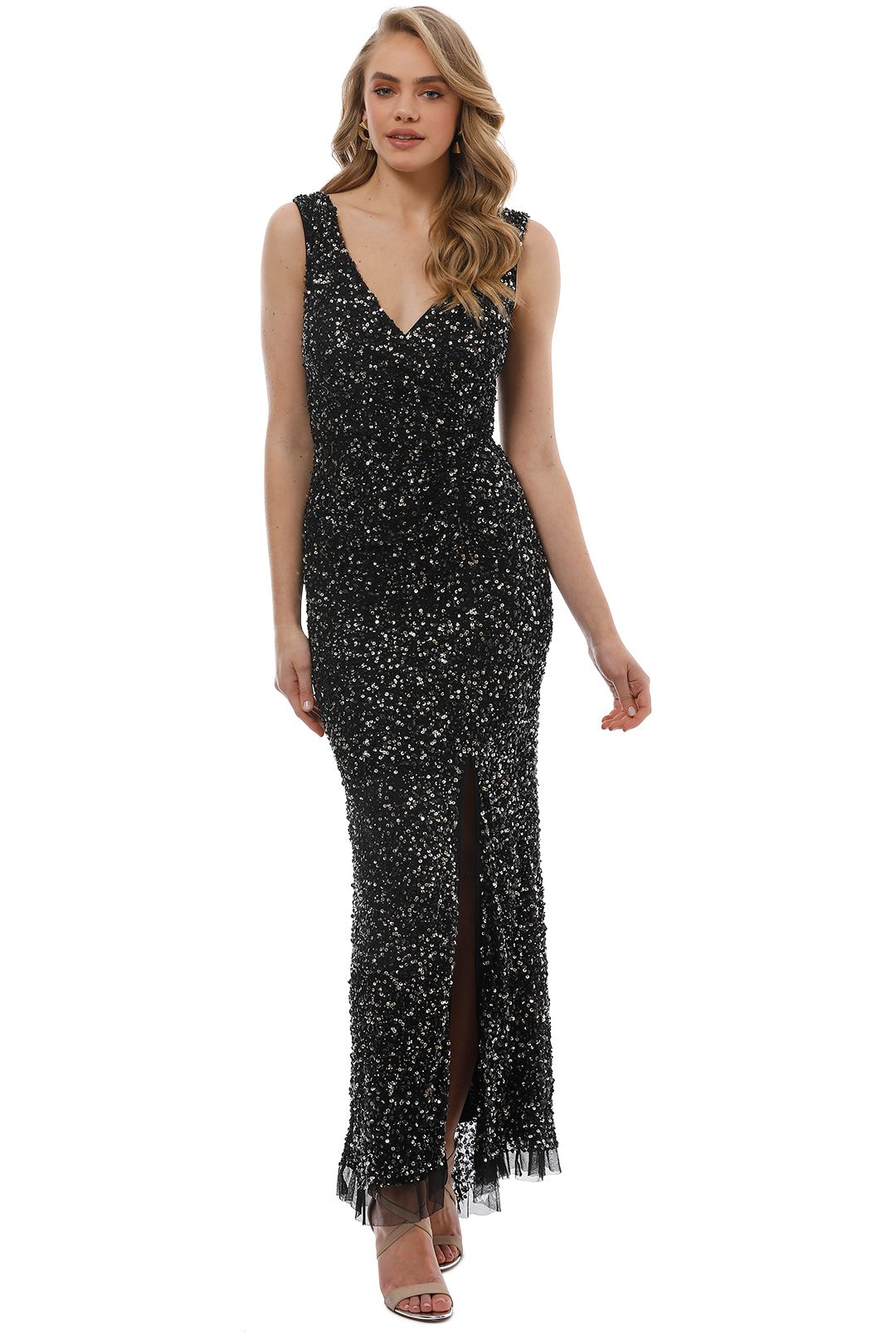 Montique - Layla Hand Beaded Dress - Gold Sequin - Front