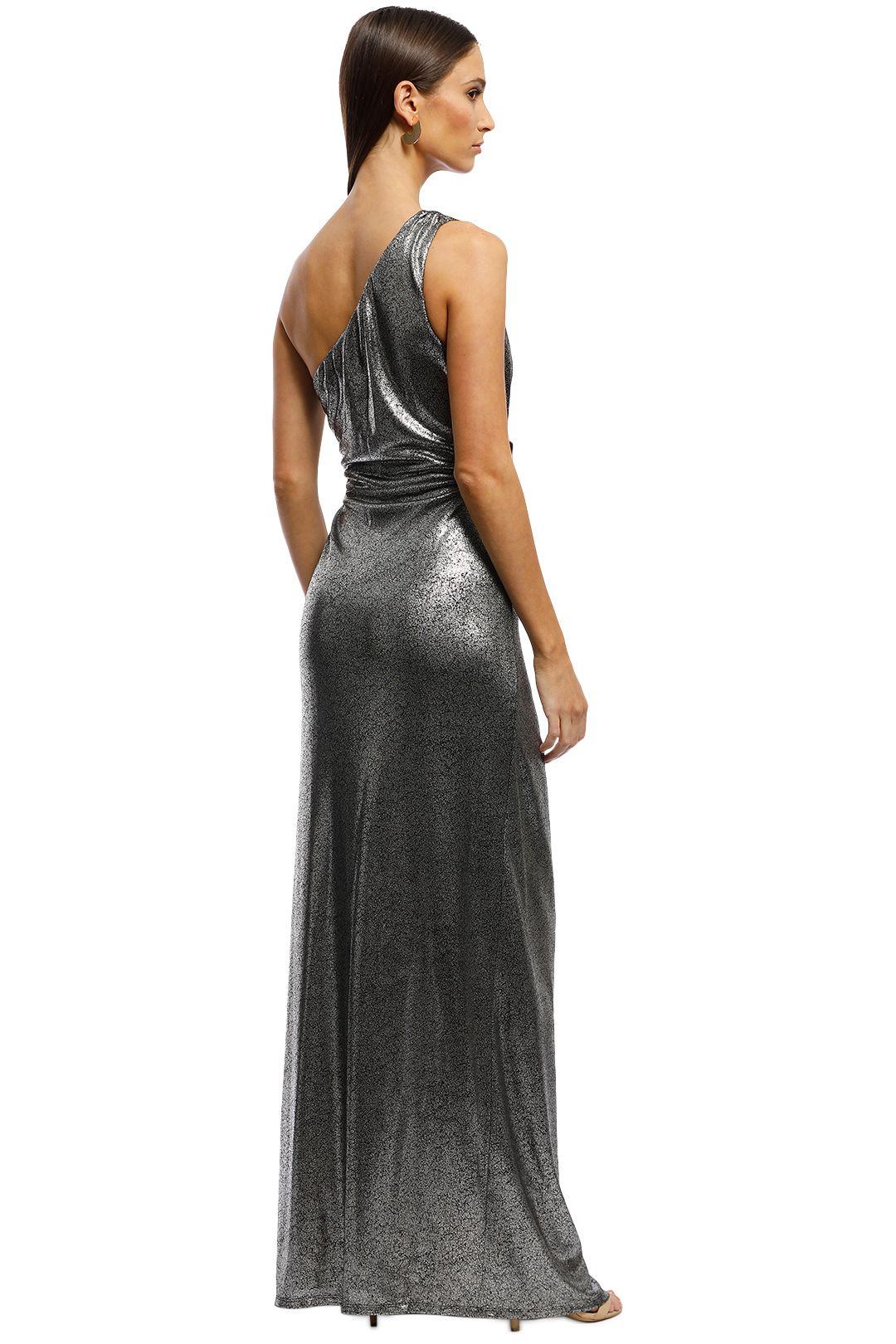 Montique -  Lopez One Shoulder Gown - Metallic - Back