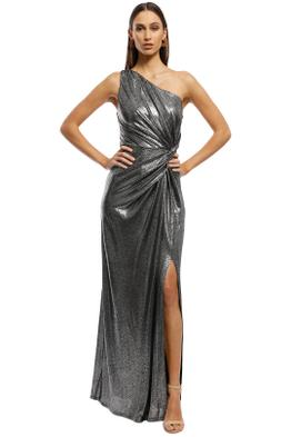 Montique -  Lopez One Shoulder Gown - Metallic - Front