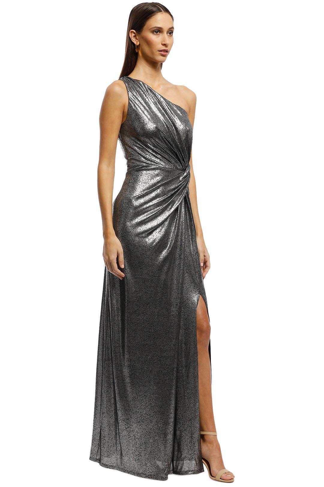 Montique -  Lopez One Shoulder Gown - Metallic - Side