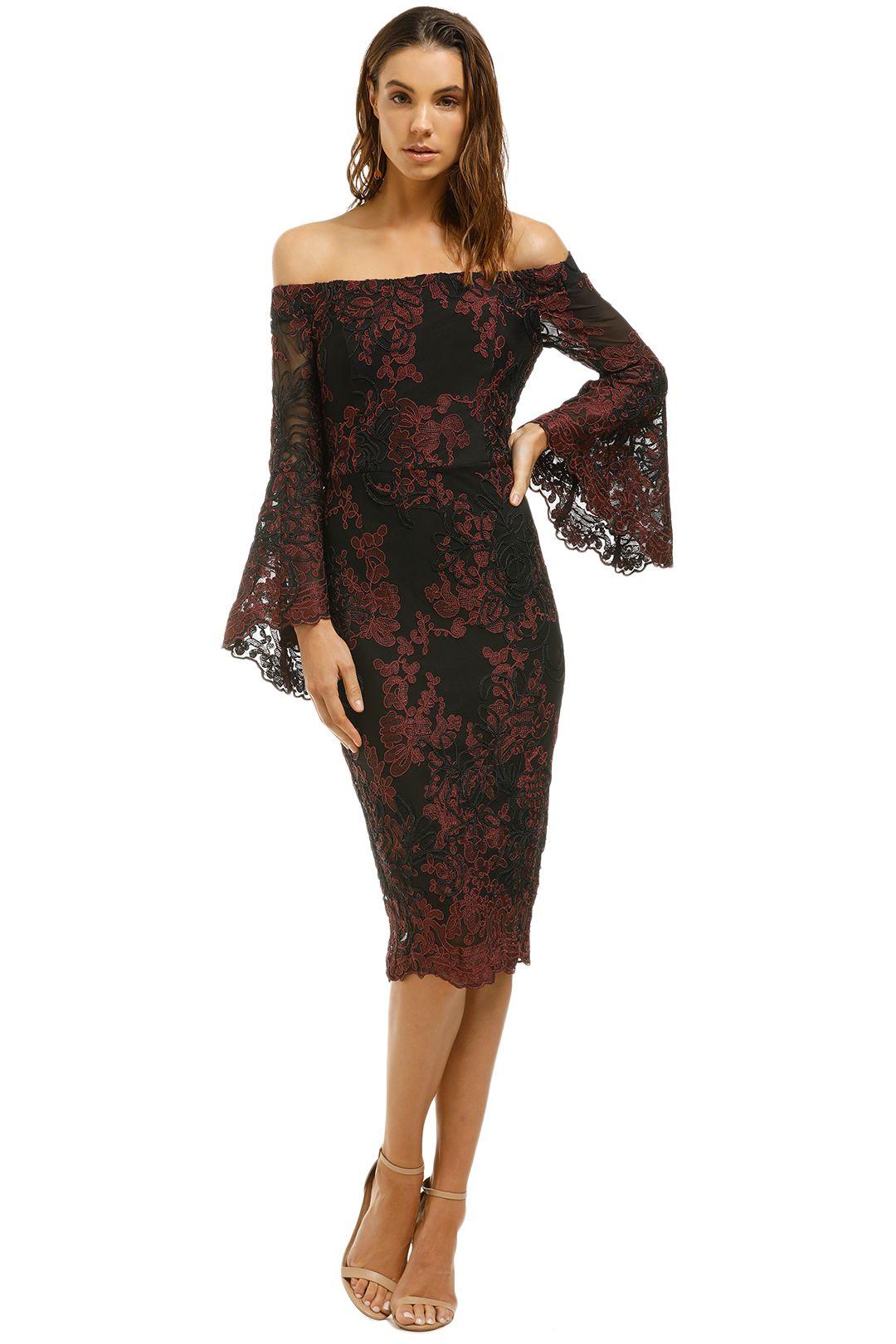 Montique - Stephanelle Lace Dress - Black Red -Front