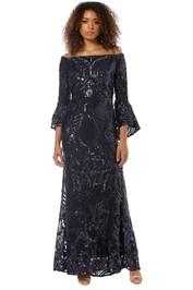 Montique - Tia Off Shoulder Sequin Gown - Navy - Front