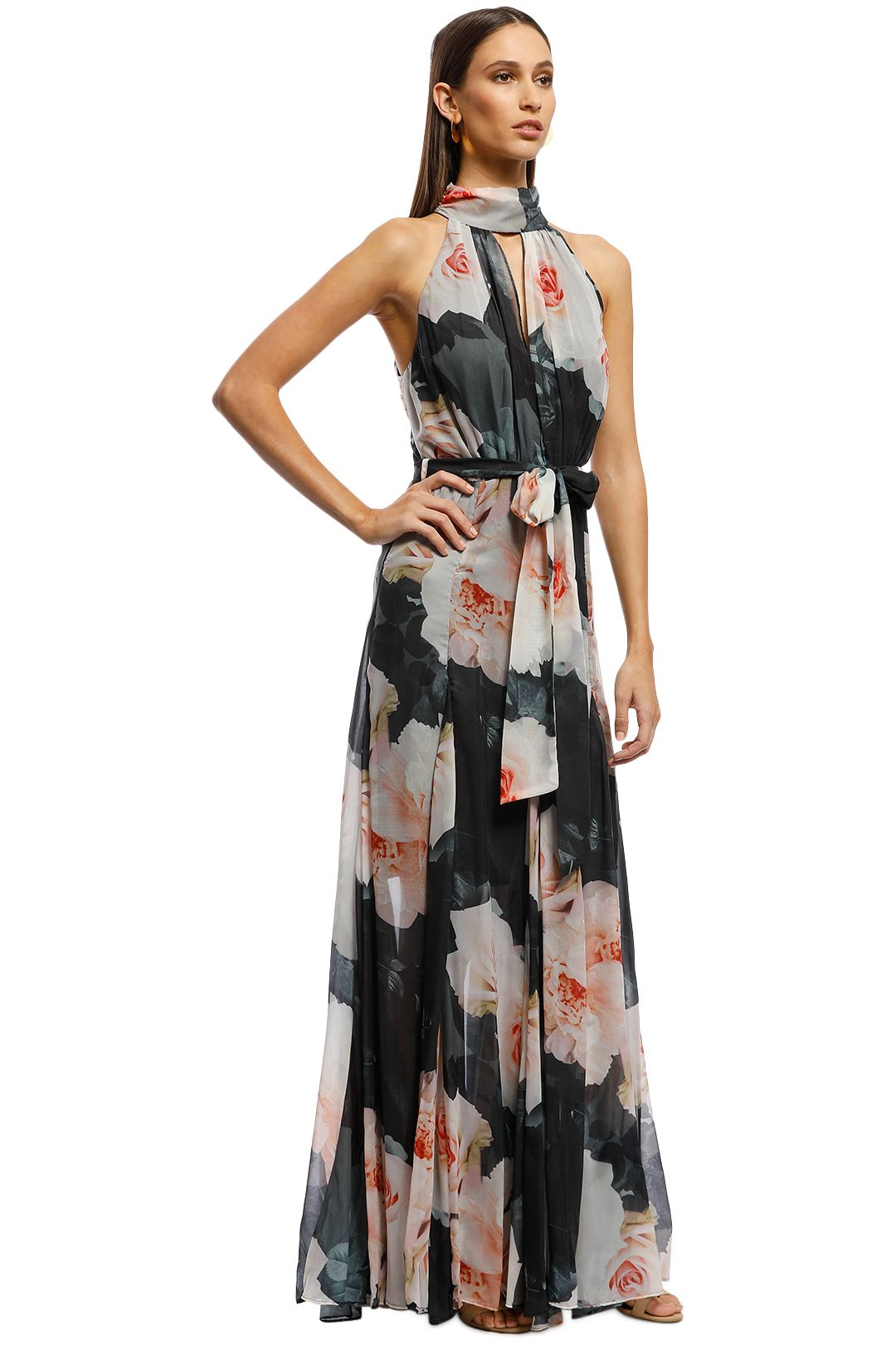 Montique - Vanessa Gown - Black Floral - Side