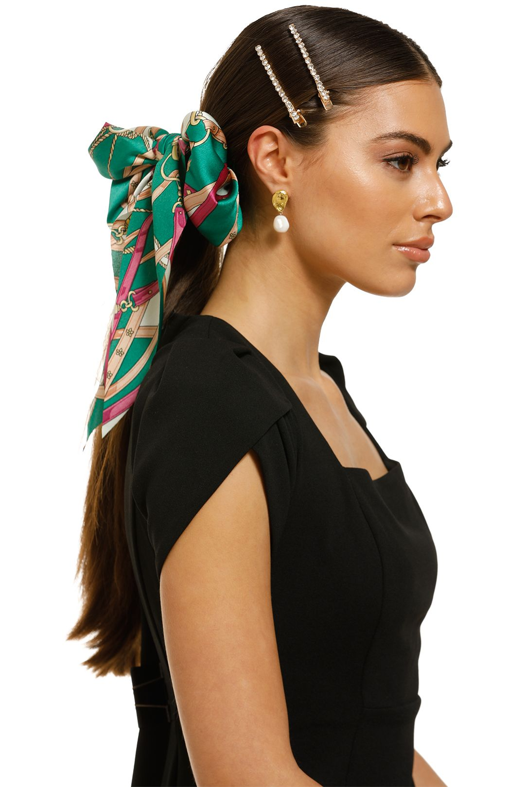 Morgan-and-Taylor-Akira-Scrunchie-With-Long-Tails-Green-Product-Two