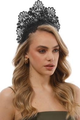 Morgan and Taylor - Kaisha Black Fascinator - Black - Side Model