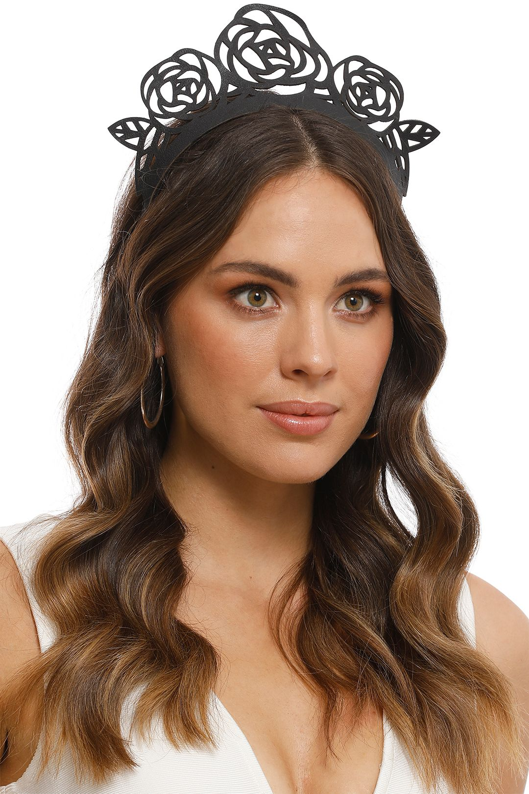 Morgan and Taylor - Leather Laser Cut Rose Crown - Black