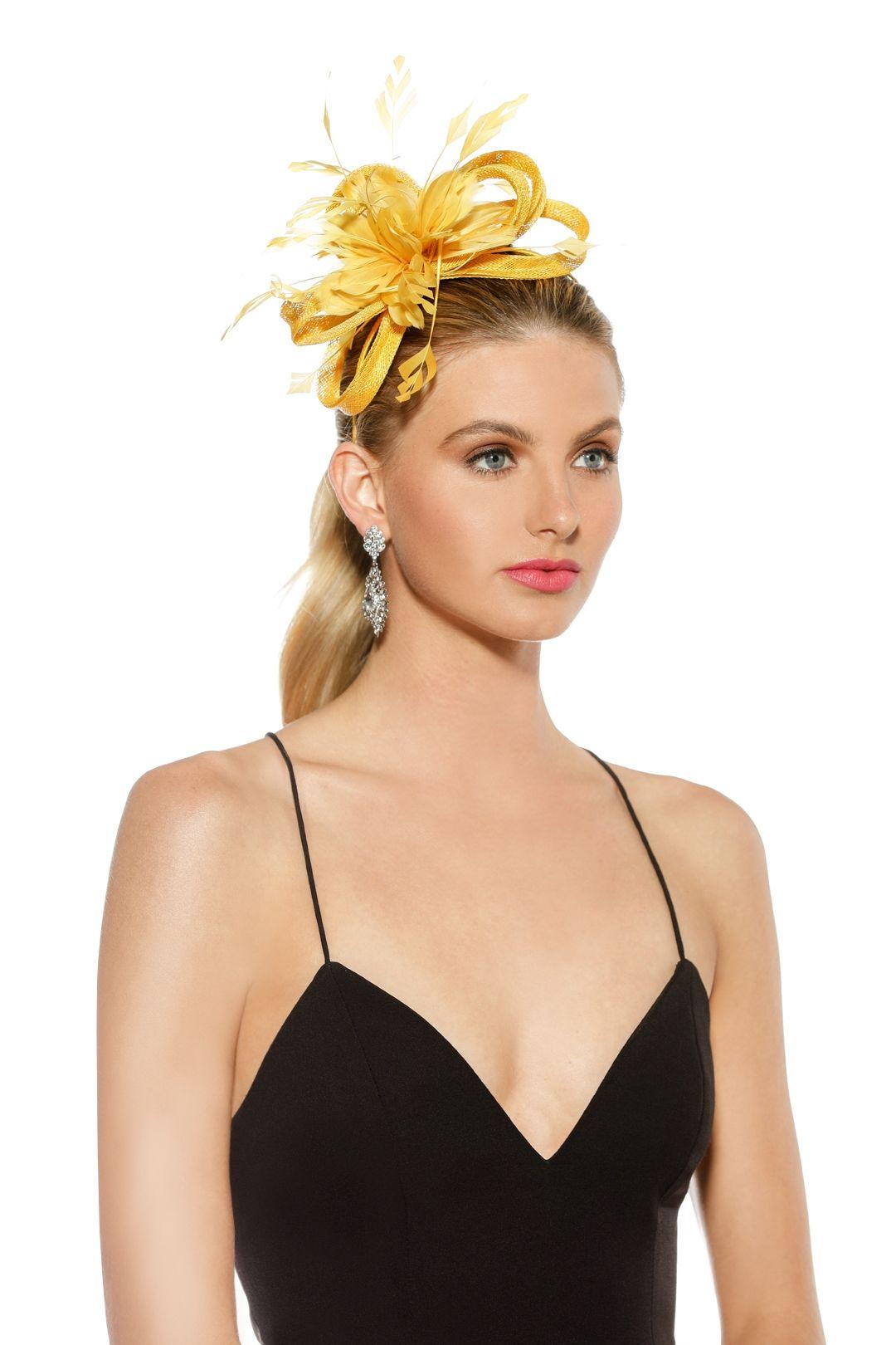 Morgan and Taylor - Nina Fascinator - Yellow - Front Model