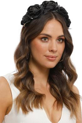 Morgan and Taylor - Rose Fascinator - Black - Side Model