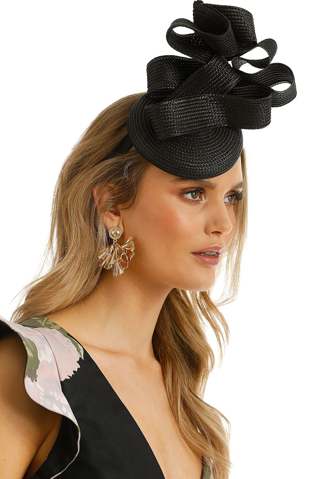 Morgan and Taylor - Stormy Fascinator - Black - Side Model