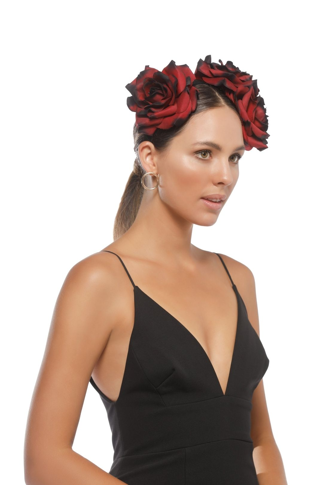 Morgan & Taylor - Maya Fascinator - Black Burgundy - Side Model