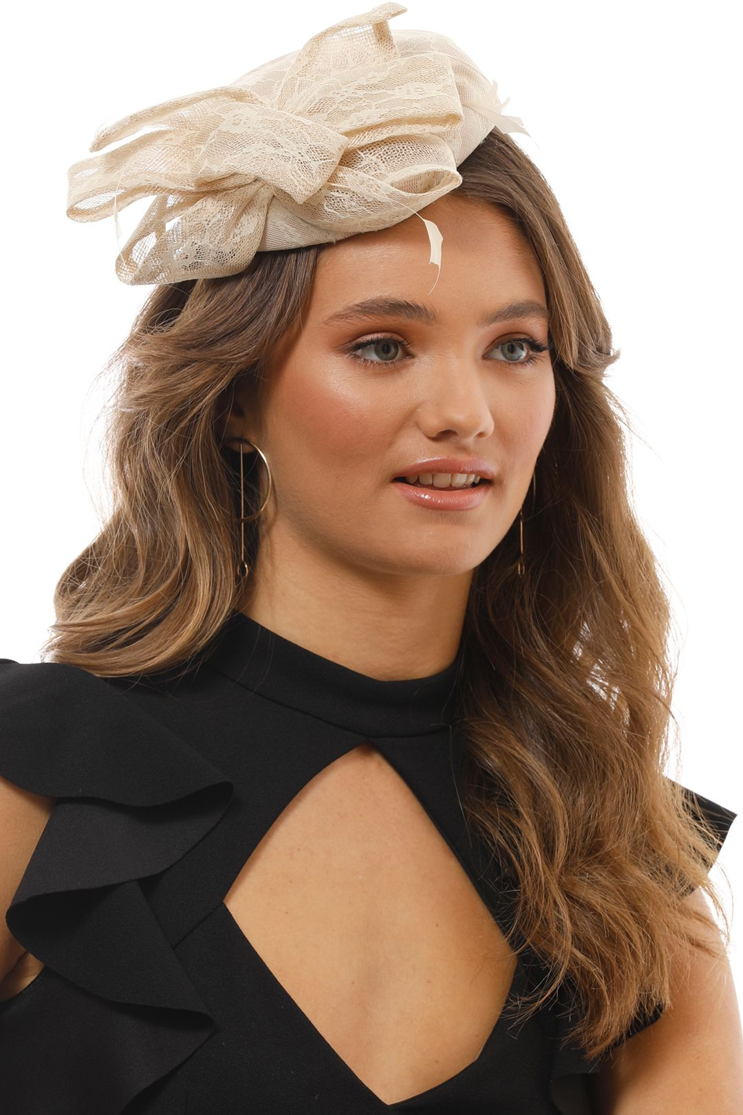 Morgan & Taylor - Samantha Fascinator - Cream - Side Model