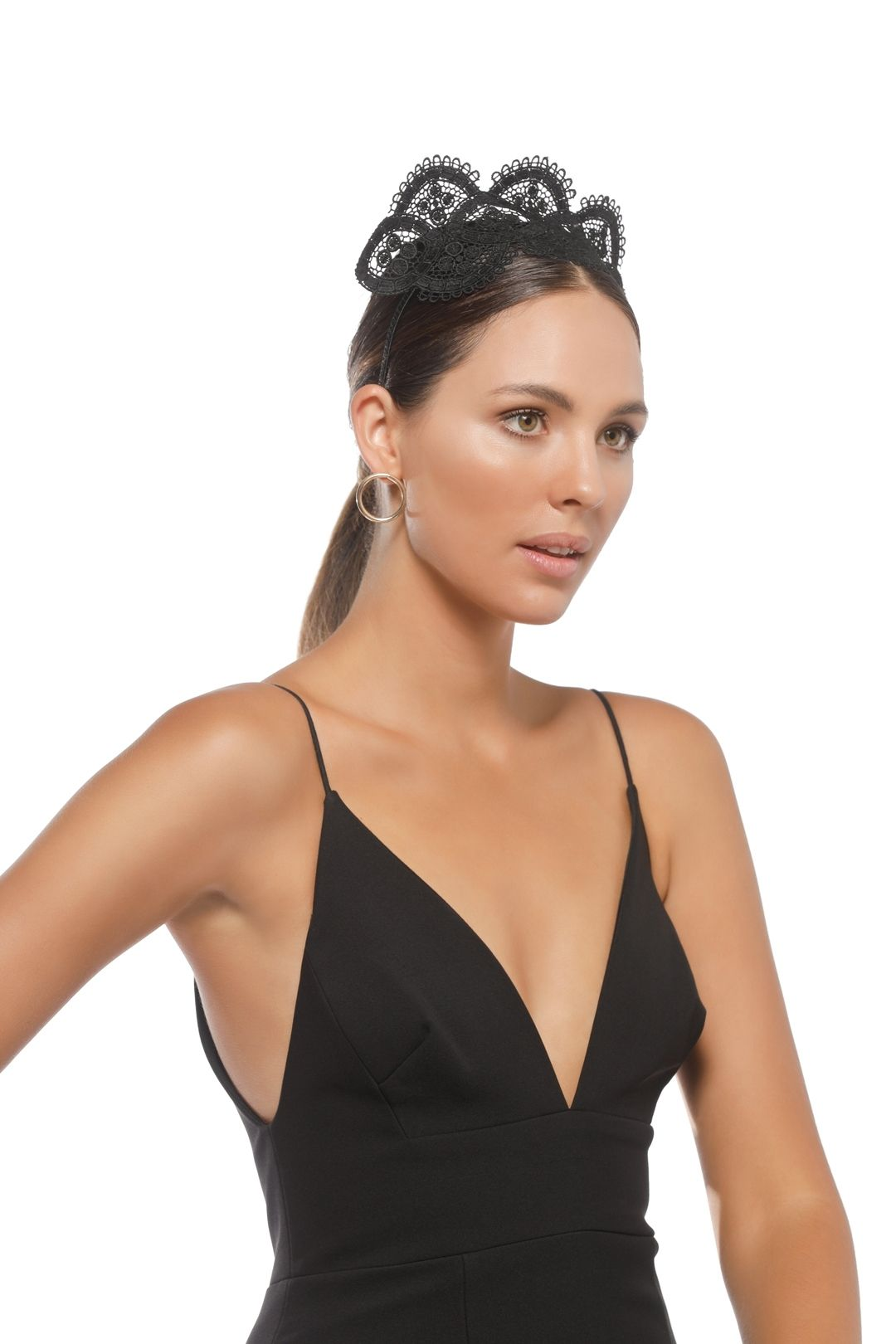 Morgan & Taylor - Verona Fascinator - Black - Side Model